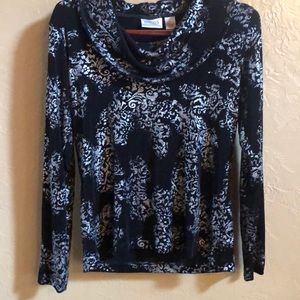Chico's travelers black/silver cowl neck top Sz 1